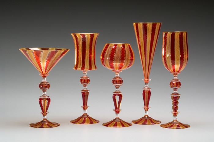 Amber and Red Cane Goblets