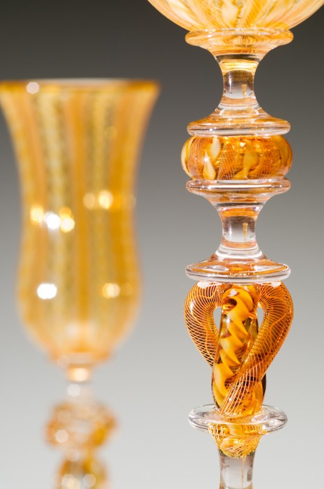 Amber with Amber Cane Goblet Detail
