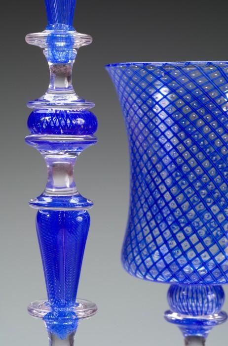Blue Reticello Goblet Detail