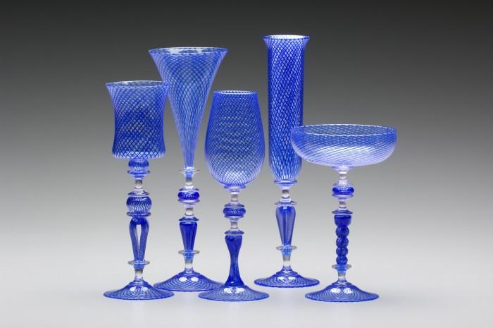 Blue Reticello Goblets