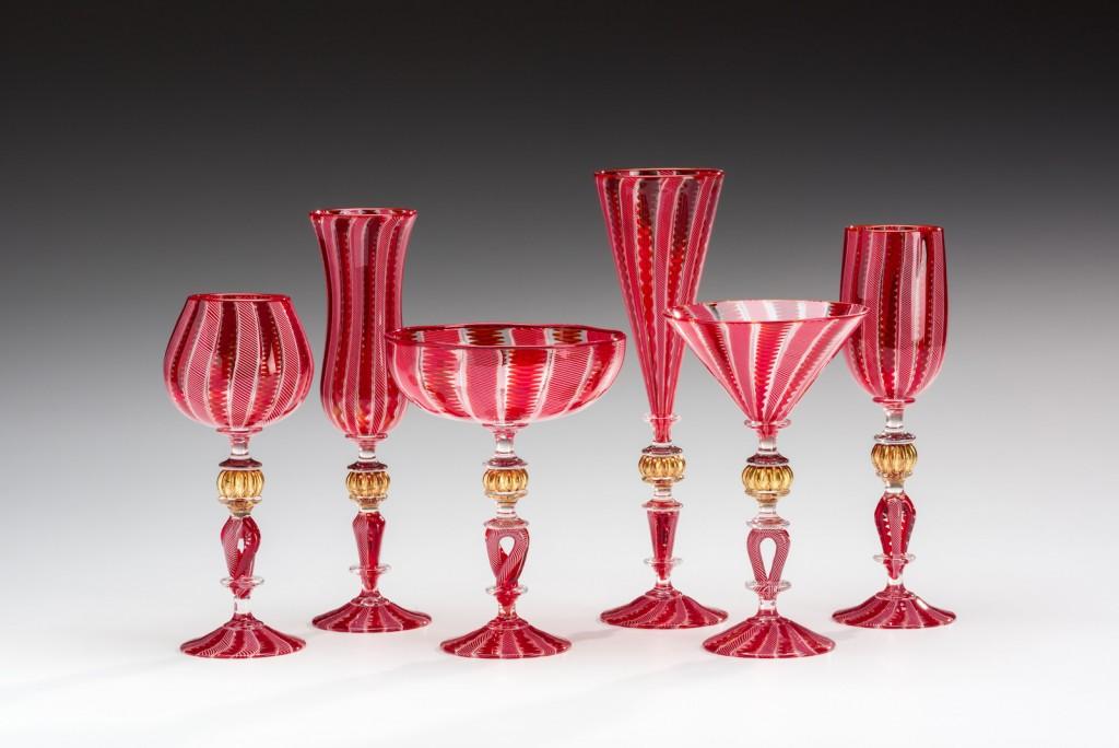 Red Cane Goblets