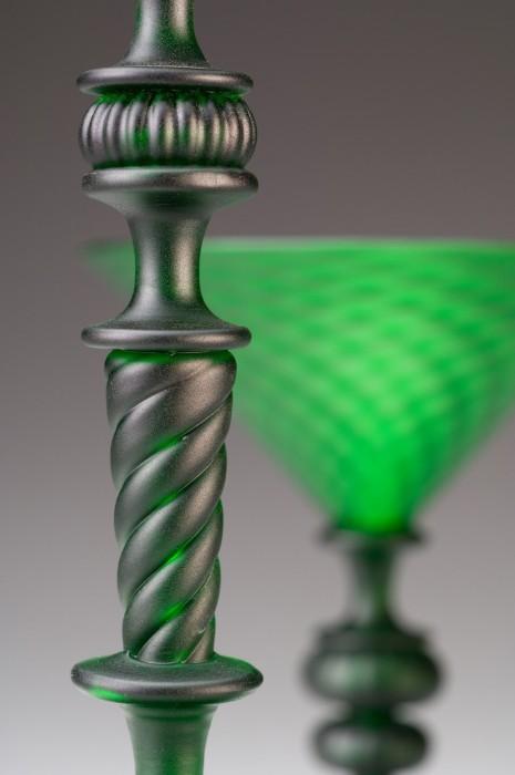 Satin Green Goblet Detail