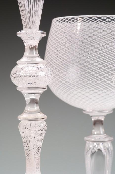 White Reticello Goblet Detail