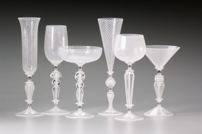 White Reticello Goblets