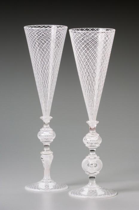 White Reticello Bridal Goblets